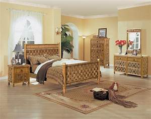 B635 tahiti 4 pc natural wicker and rattan bedroom set by for Wicker bedroom sets