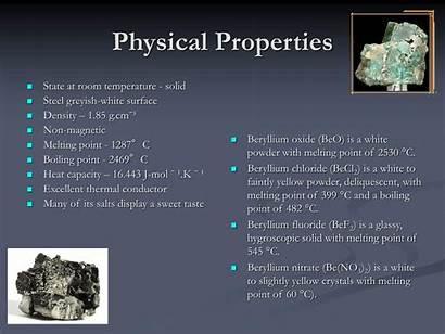 Beryllium Properties Physical Melting Point Density Temperature
