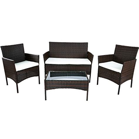 merax 4 pc outdoor garden rattan patio furniture set