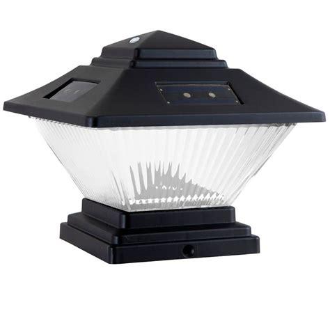 hton bay 2 pack black dual mount solar post cap lights