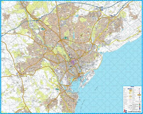 cardiff   wall map