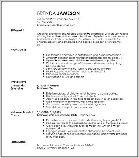 Create A Professional Resume by Exle Of Professional Resume Resume Resume