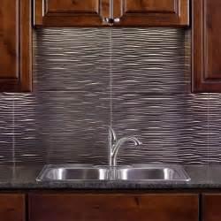 kitchen backsplashes home depot fasade 24 in x 18 in waves pvc decorative tile backsplash in brushed nickel b65 29 the home