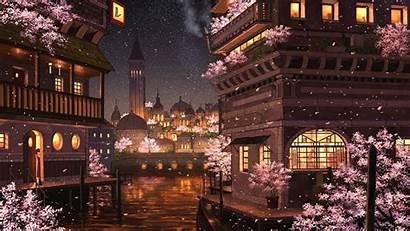Anime Night Sakura River Lights Buildings Blossom