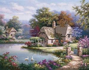 Beautiful Painting Of House On The Lake Pictures, Photos, and Images for Facebook, Tumblr