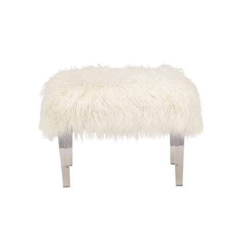 white faux fur stool 18 in h x 25 in w white faux fur stool 33002 the home 1297