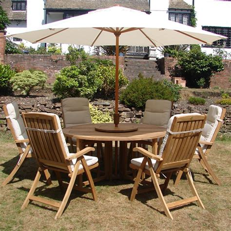kensington teak garden furniture set 6 recliner seats