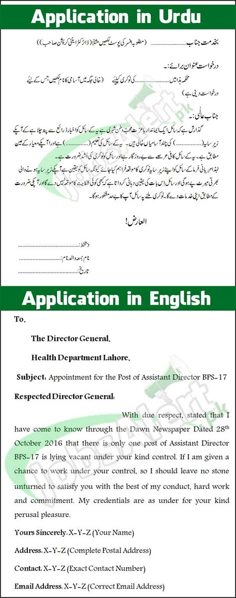 write job application  pakistan urdu english sample