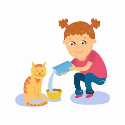 Cat Feeding Feed Clipart Milk Bowl Into