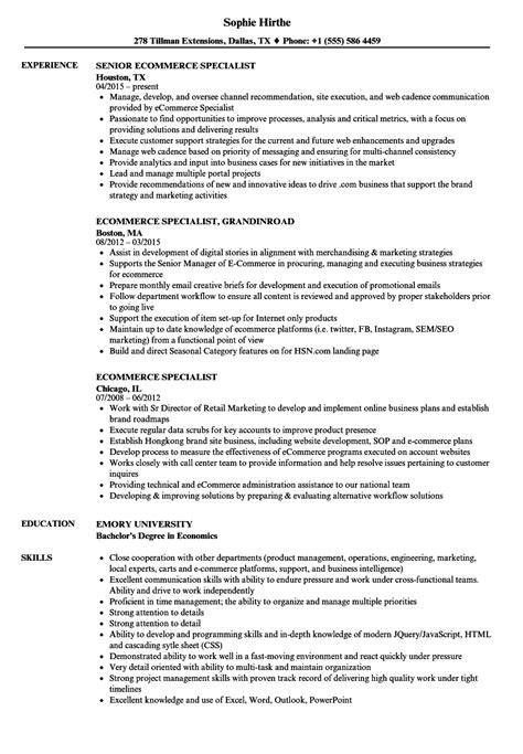 Ecommerce Specialist by Ecommerce Specialist Resume Sles Velvet