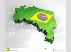3d Flag Map Of Brazil Royalty Free Stock Photography