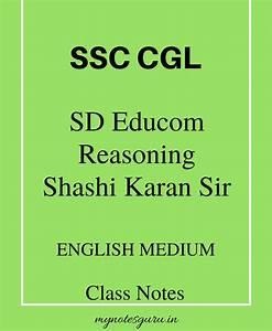 SSC – CGL – SD Educom – Reasoning – Shashi Karan Sir ...