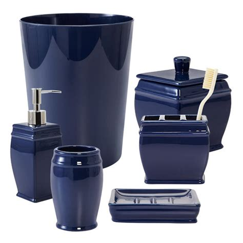bathroom accessories navy blue folat