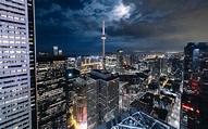 Hämta bilder Toronto, CN Tower, skyskrapor, natt, Kanada ...