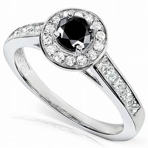 Round black white diamond engagement ring unusual for White diamond wedding ring