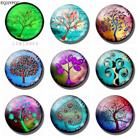 decorative refrigerator magnets tree of 25 mm 8 pcs fridge magnet glass luminous