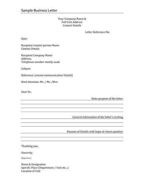 business letter template  formal word samples