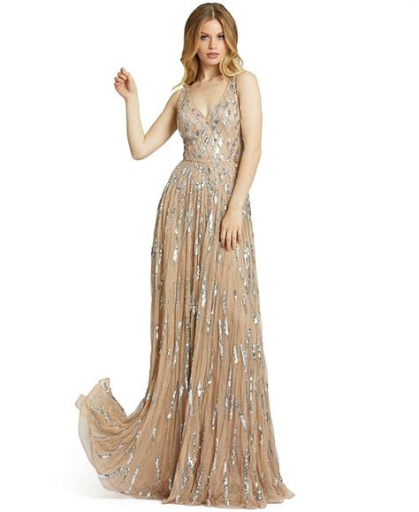 Mac duggal plunge neck pleated gown. MAC DUGGAL V-Neck Sleeveless Embellished Gown & Reviews ...