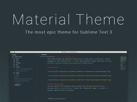 Material Theme for Sublime Text 3 - Uplabs