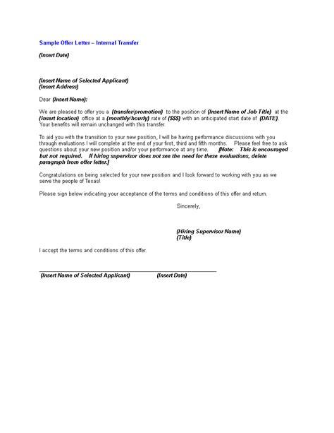 internal transfer offer letter templates