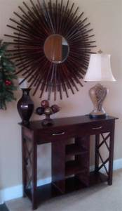 Lazy Liz on Less: Console table plus sunburst mirror follow up