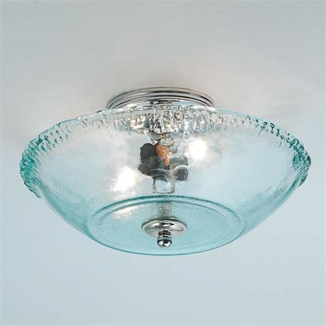 recycled bottle glass bowl ceiling l flush mount