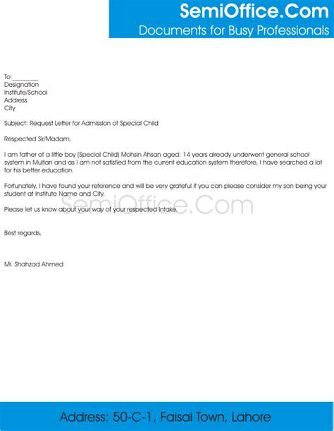 request letter  admission  school principal