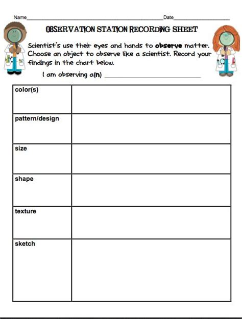 Science Observation Template by Recording Sheets Science And Scary On