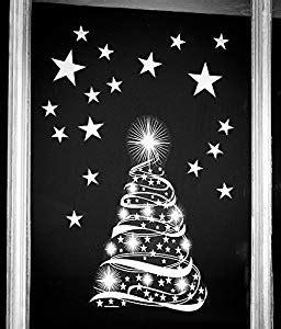 star tree  stars window cling stickers seasonal
