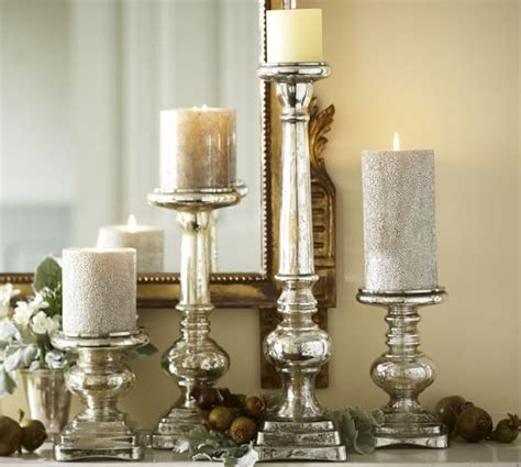 pottery barn candle holders antique mercury glass pillar holder pottery barn