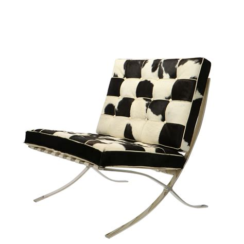 Cowhide Barcelona Chair by Barcelona Chair Cowhide Black White Designerchairs24