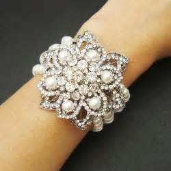 bridesmaid bracelet items similar to bridal pearl cuff bracelet vintage style rhinestone wedding bracelet