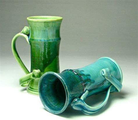 Drippy daisy handmade pottery mugs. HUGE handmade porcelain Beer Stein blue green aqua giant tall coffee mug star handle 32 oz large ...