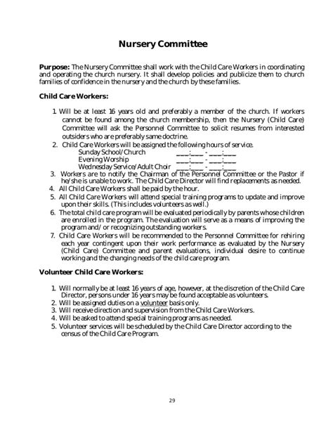 preschool policies and procedures policy and procedure manual church sample 326