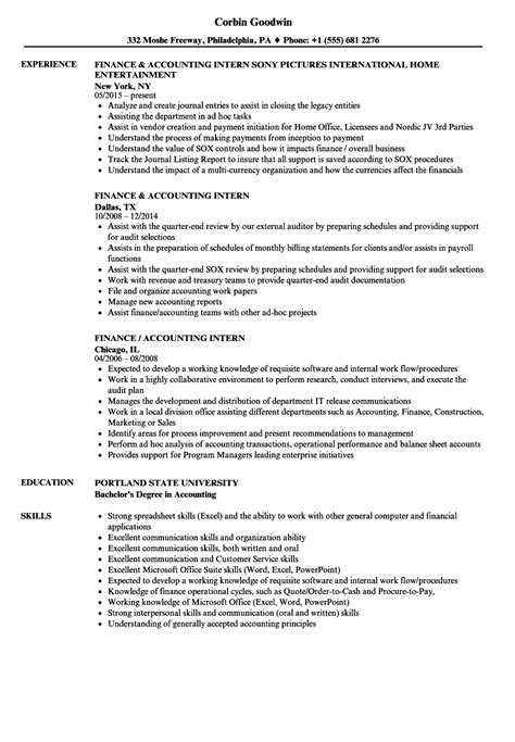 finance accounting intern resume sles velvet