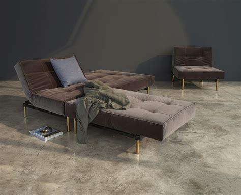 innovation futon splitback sofa bed w brass legs in velvet by innovation