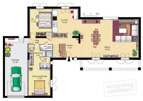 plan de maison plain pied 4 chambres avec garage une bastide moderne dé du plan de une bastide