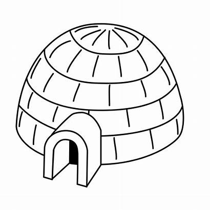 Igloo Coloring Pages Drawing Clip Impressive Clipart