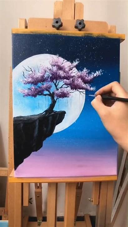 Painting Tree Acrylic Paintings Cherry Canvas Blossom
