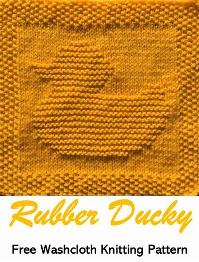 Rubber Pattern Knitting Dishcloth Ducky Patterns Square