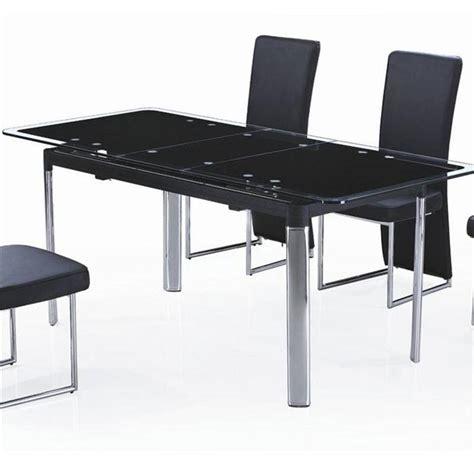 table en verre noir avec rallonge extensible achat