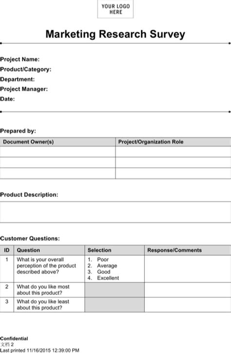 Market Research Template Doc by Marketing Research Template For Free Formtemplate