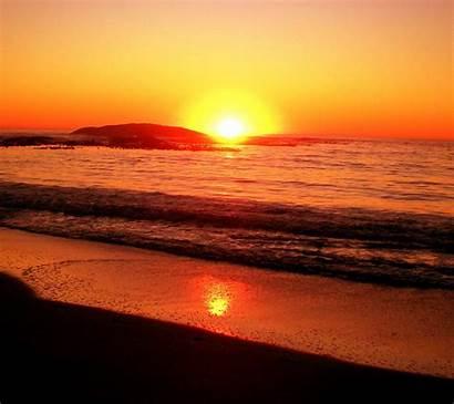 Sunset Beach Background Backgrounds Ocean Desktop Sunsets