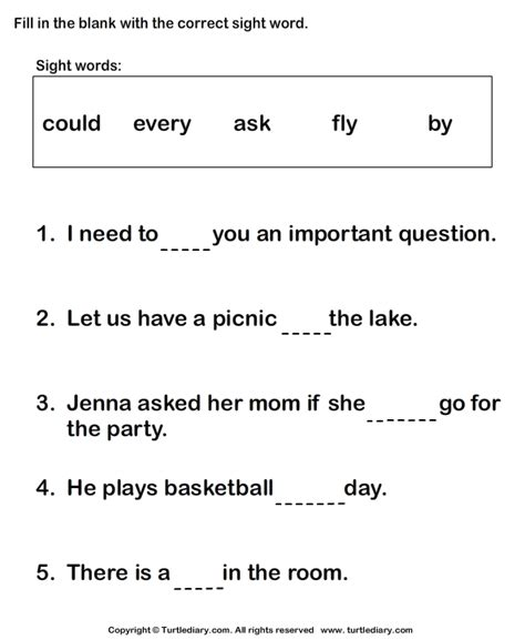 sight word worksheet new 25 sight word fill blank worksheets