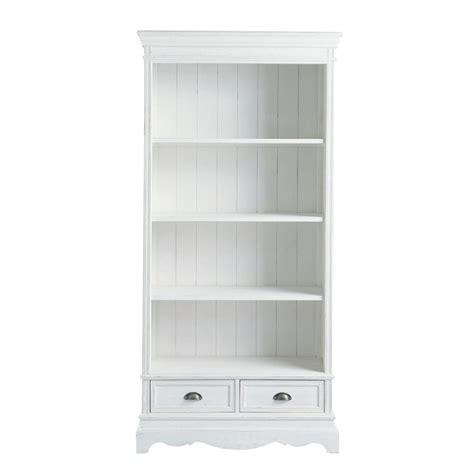 biblioth 232 que en bois de paulownia blanche l 90 cm jos 233 phine maisons du monde