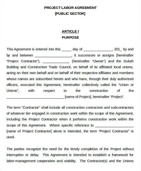 labor agreement templates  word  format
