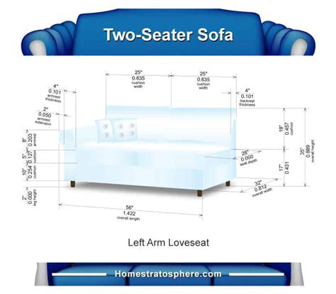 Two Seater Dimensions by Sofa Dimensions For 2 3 4 And 5 Charts