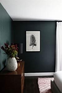 Dark Green Walls In Minimalist Bedroom SPACES AND GEMS