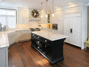 Kitchen Island Cabinets White Kitchen With Black Island Traditional Kitchen