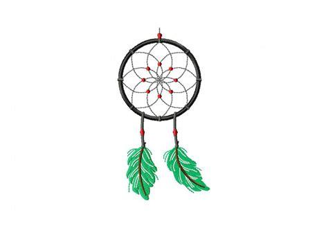 green feather dream catcher machine embroidery design